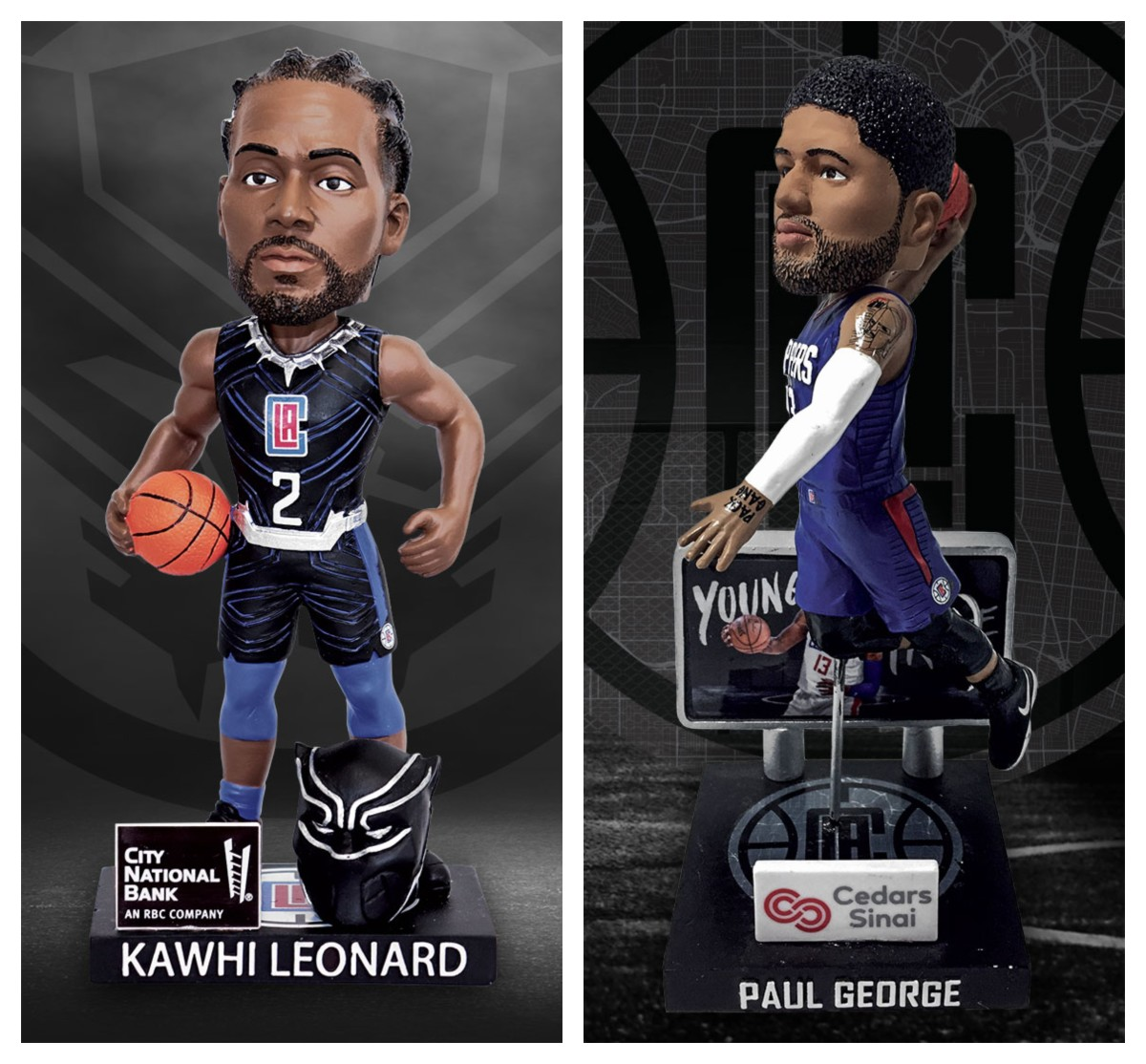 The Clippers will give out 10,000 Leonard bobbleheads against Miami Feb. 5 and 10,000 George bobbleheads against Philadelphia Mar. 1.