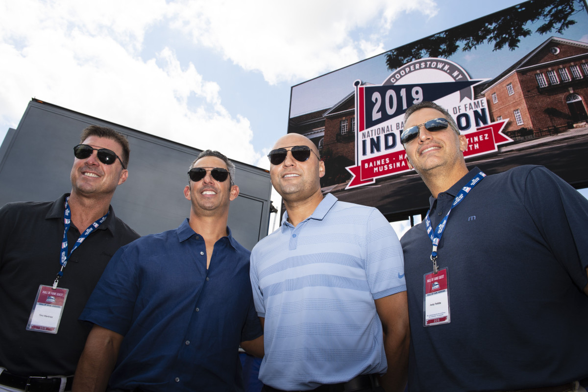 Derek Jeter alongside Jorge Posada, Tino Martinez and Andy Pettitte at 2019 Hall of Fame Induction