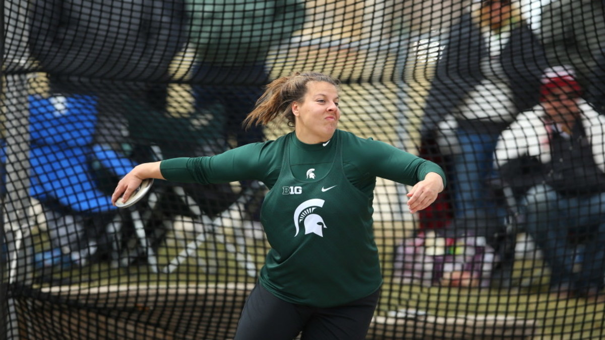 Redshirt-senior Katelyn Daniels will compete in the NCAA Finals in both the discus and the shot put  (PHOTO:  MSU SID)