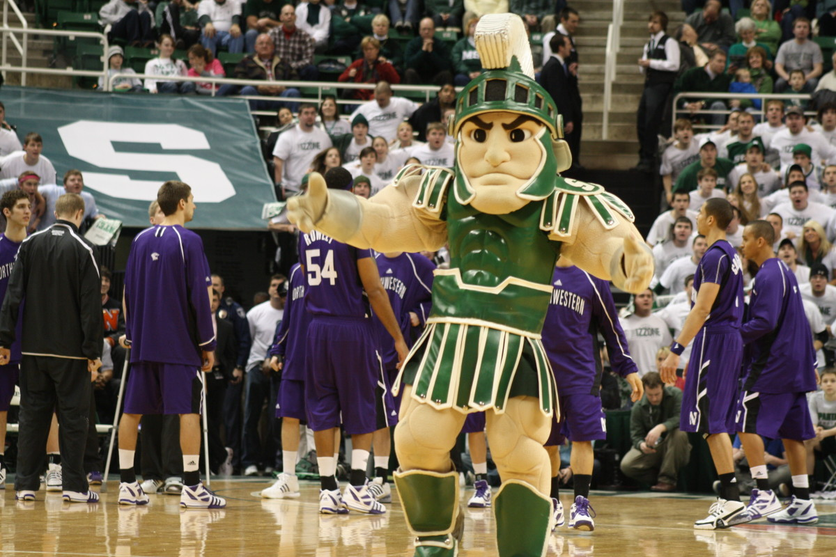 Everybody in the Spartan Nation loves Sparty!  Photo courtesy of Mark Boomgaard.