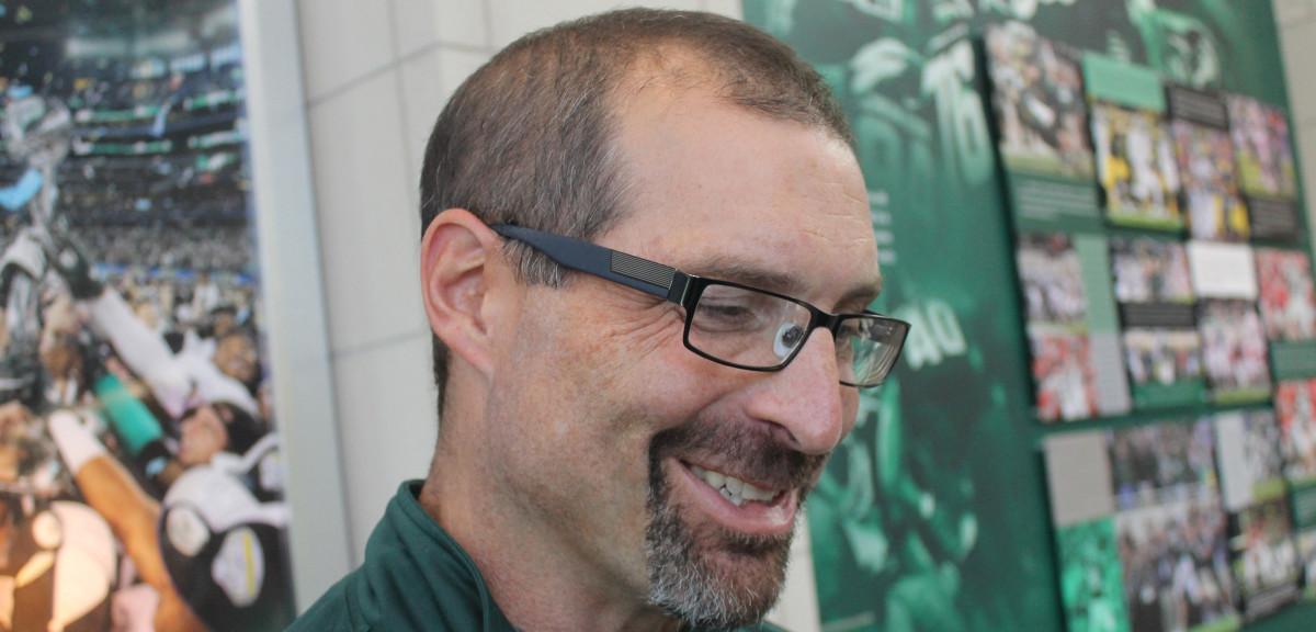 MSU OL Coach Mark Staten (PHOTO:  Duffy Carpenter)