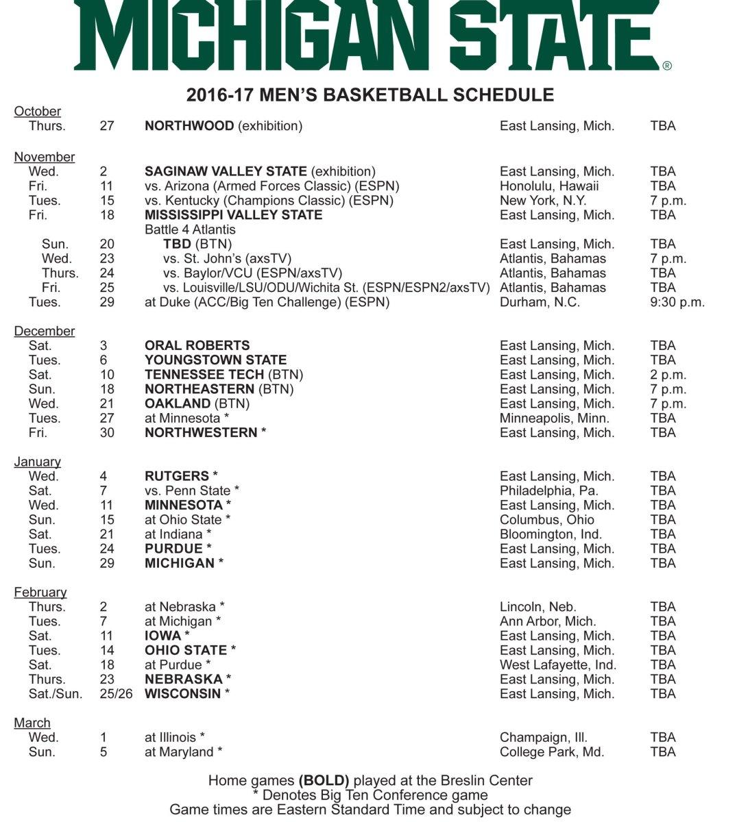 2016-2017 MSU Basketball schedule courtesy of MSU SID