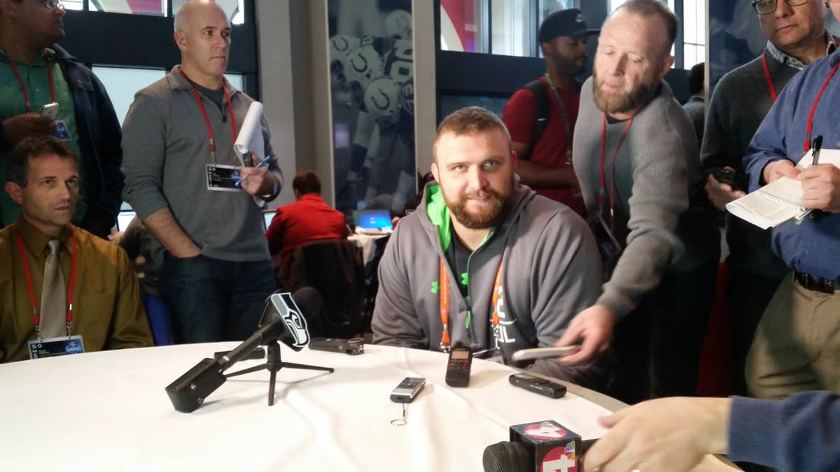 Jack Allen at the NFL Combine.  Photo courtesy of MSU SID.