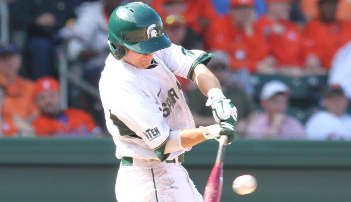 Jordan Keur hits game-winning homer in the top of the 10th to give MSU the win.  Photo courtesy of MSU SID.