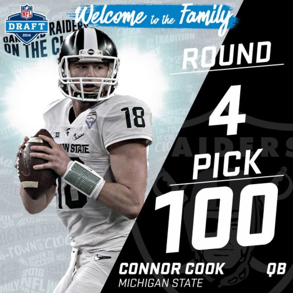 Connor Cook is an Oakland Raider.  Photo courtesy of the NFL.