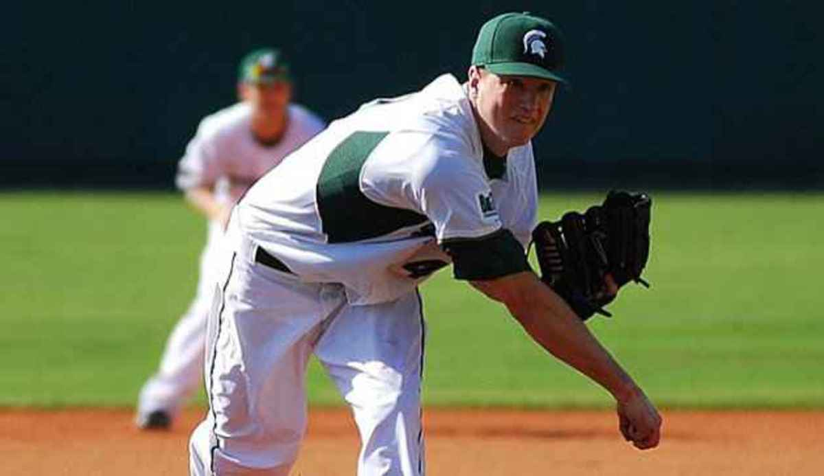 Tony Bucciferro fires complete game in pitcher's duel, but Spartans get shut out and leave eight runners on base.  Photo courtesy of MSU SID.