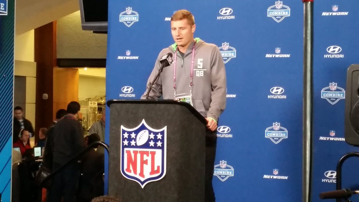 Connor Cook speaking at the NFL combine 2016.  Photo courtesy of MSU SID.