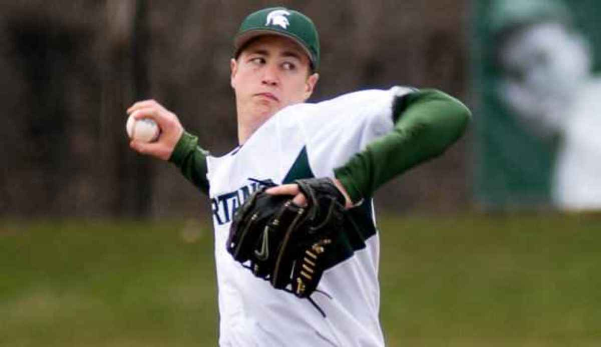 Spartan right-hander threw his third career complete-game shutout in 2-0 win over Minnesota on Saturday.  Photo courtesy of MSU SID.