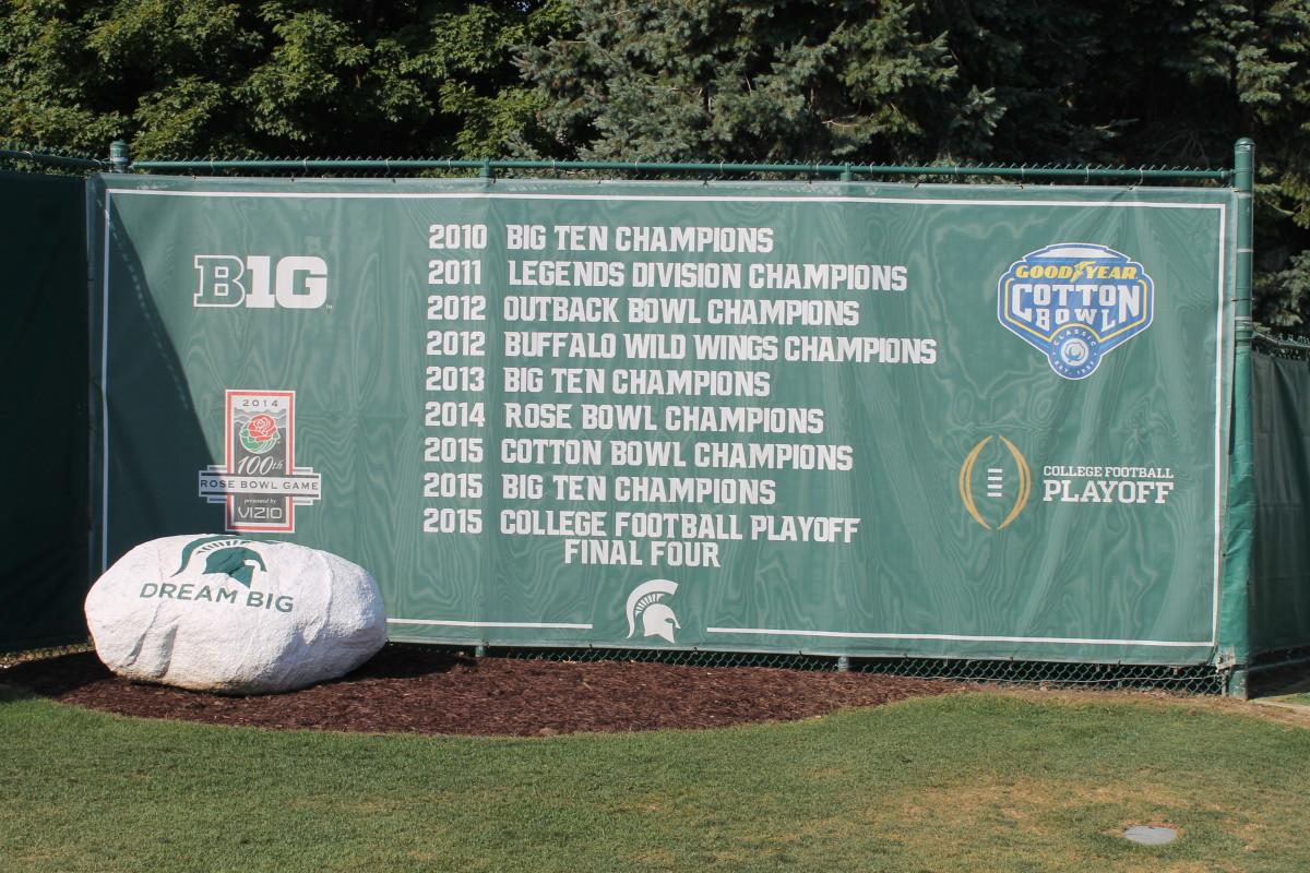 2016 MSU Football Practice Field Banner.  Photo courtesy of Sofiya Stumpos.