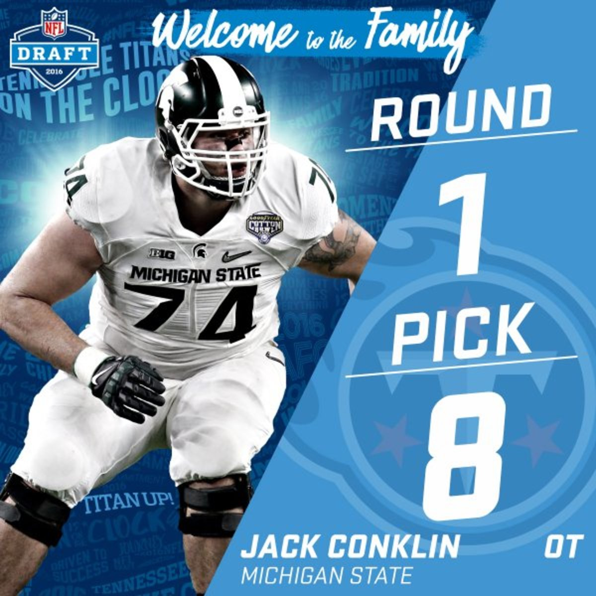 Jack Conklin picked #8 in the 2016 NFL draft by the Titans.  Photo courtesy of the NFL.