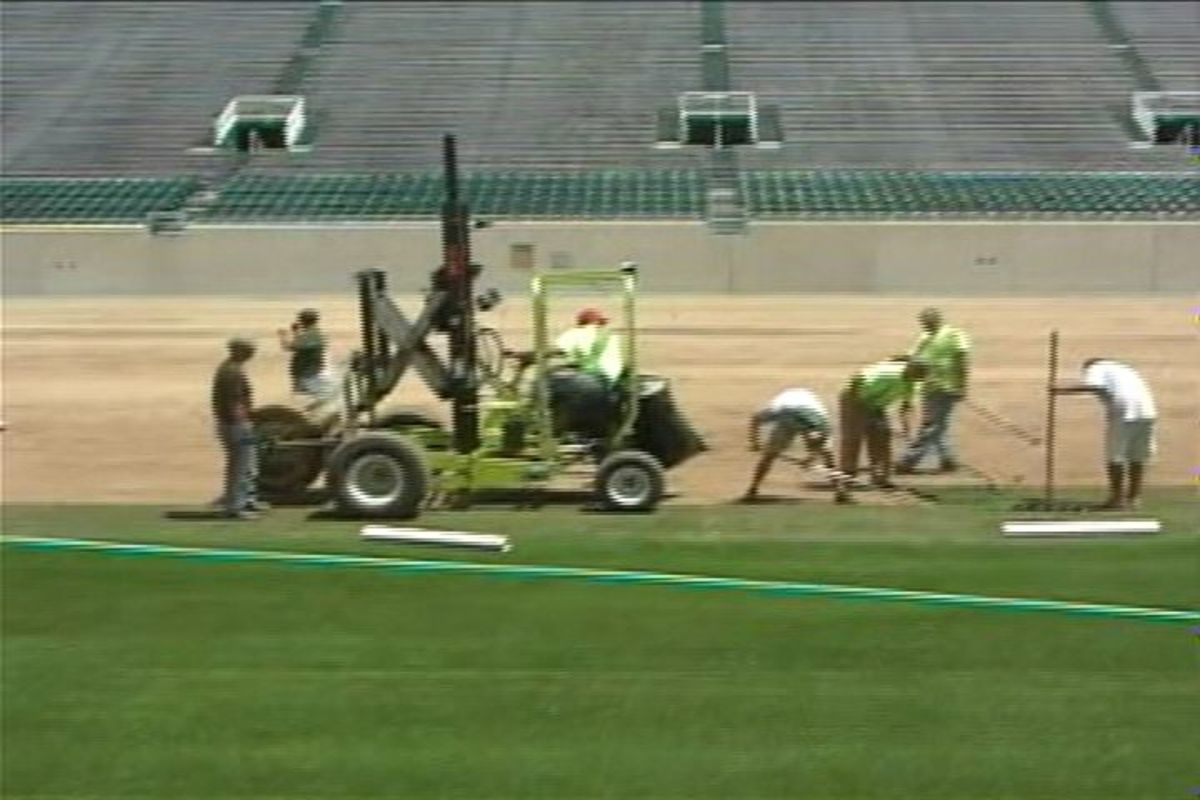 Sr. MSU Associate AD Greg Ianni and Amy Fouty the Turf Grass specialist give you the latest on the condition and progress of the new MSU football field at the High Cathedral of the Spartan Nation:  Spartan Stadium!