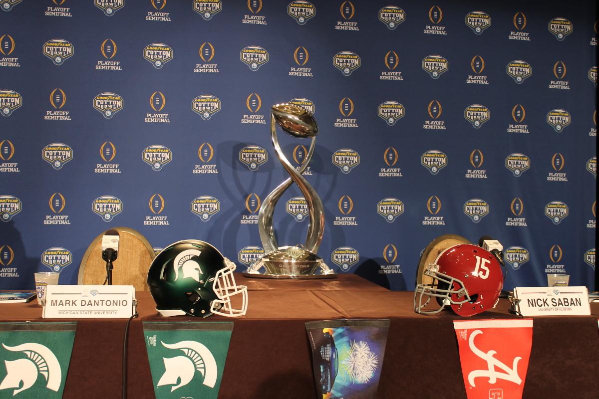 MSU Bama Helmets & Cotton Bowl Trophy.  Photo courtesy of Rick Waugh