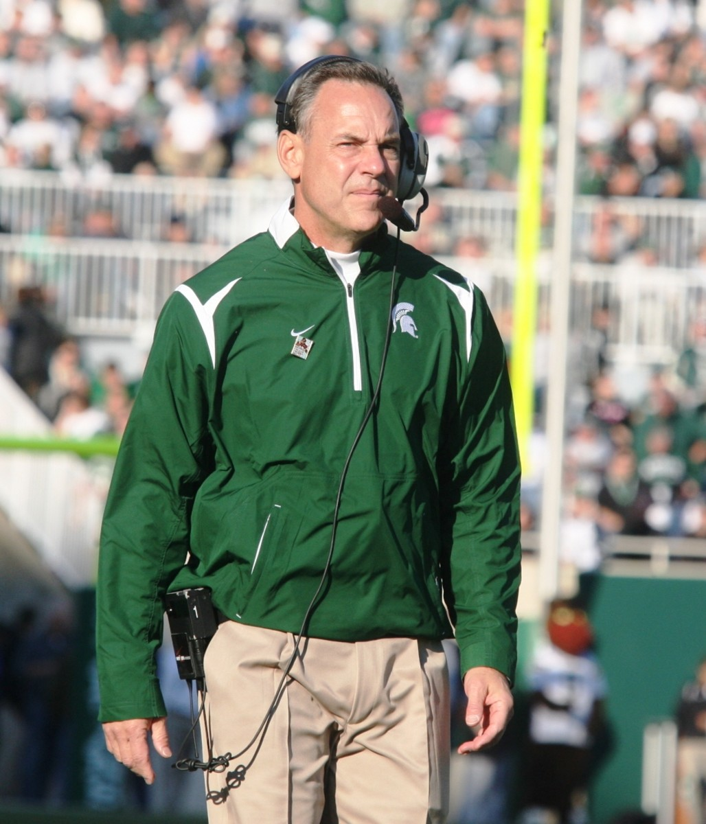 Mark Dantonio and his staff face their biggest task at MSU since their arrival.  Photo courtesy of Bill Marklevits.