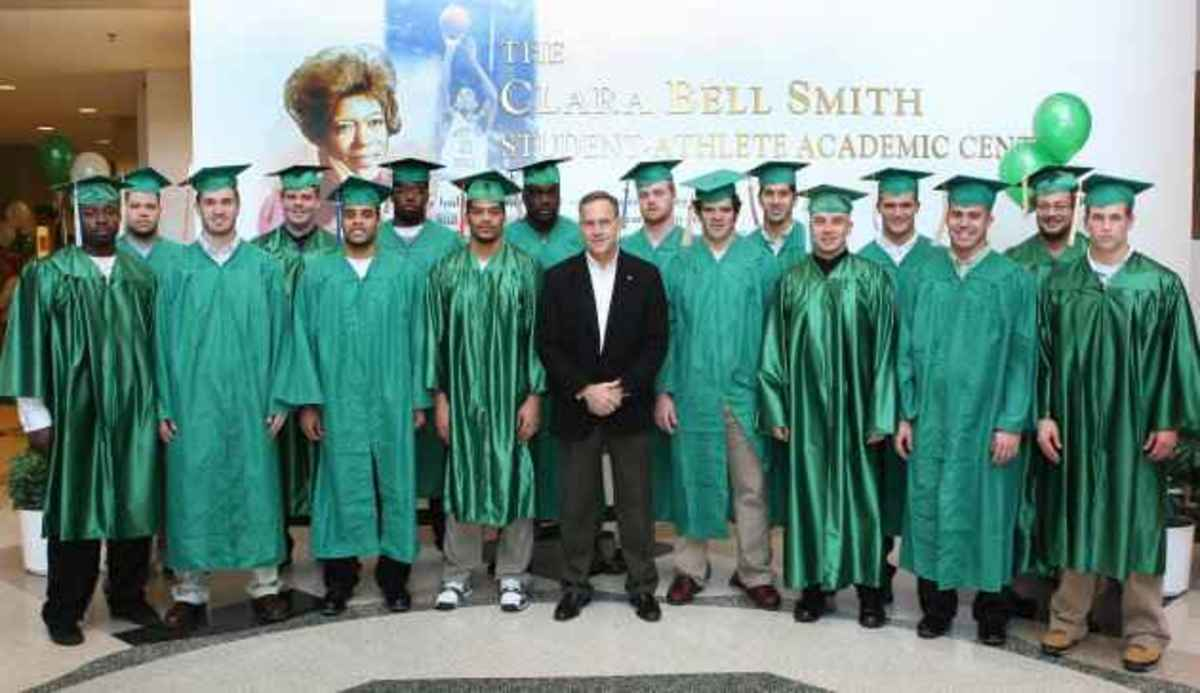 In four seasons under head coach Mark Dantonio, 82 percent (61 of 74) of his players who have completed their eligibility have earned their undergraduate degrees.  Photo courtesy of MSU SID.