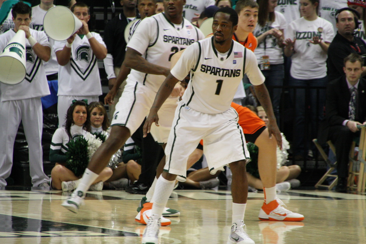 Kalin Lucas did it all for the Spartans tonight at the Breslin Center with the nation watching.  Photo courtesy of Mark Boomgaard.