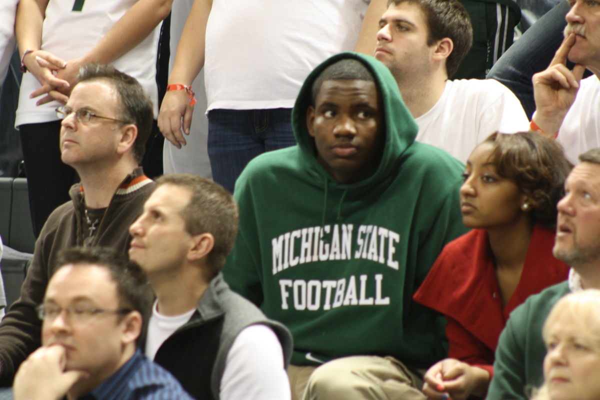 Last night at the Breslin Center Thomas didn't hide his love for the program.  MSU is where he felt comfortable with a staff that took the time to get to know him as a person and not just a football player.  Photo courtesy of Mark Boomgaard.