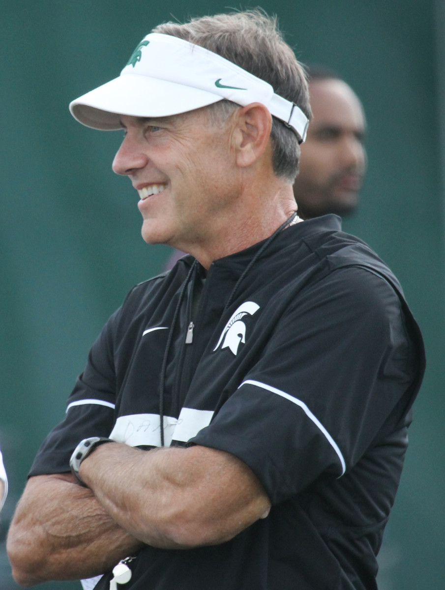 Mark Dantonio was all smiles as the Spartans open their third week of fall camp.