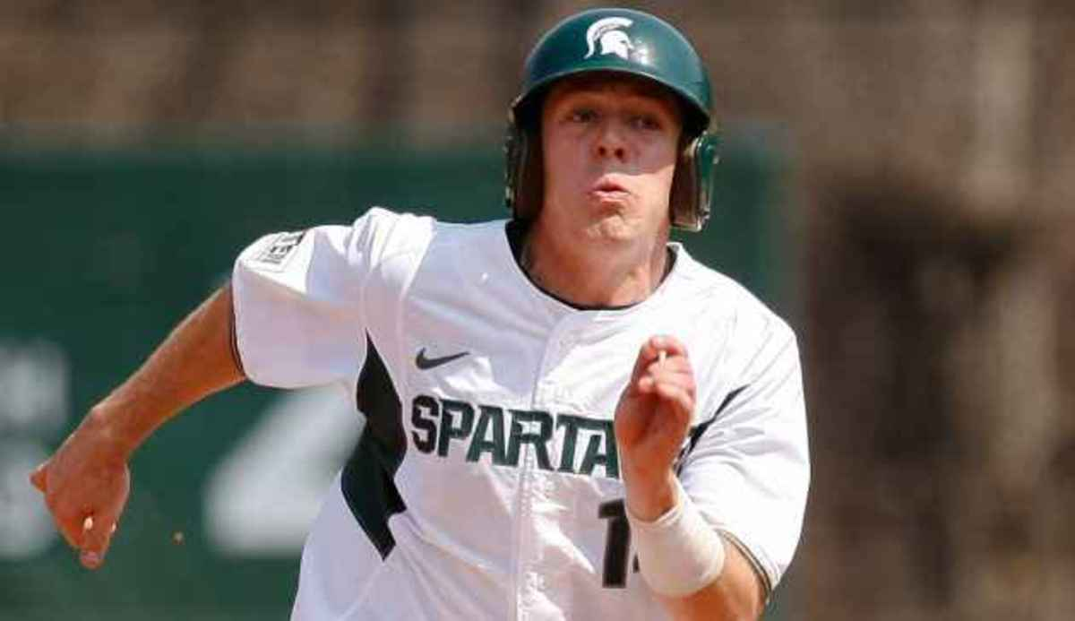 Eckerle ranks second in the Big Ten in batting with a .381 average and owns a 3.98 GPA in general business administration/pre-law.  Photo courtesy of MSU SID.
