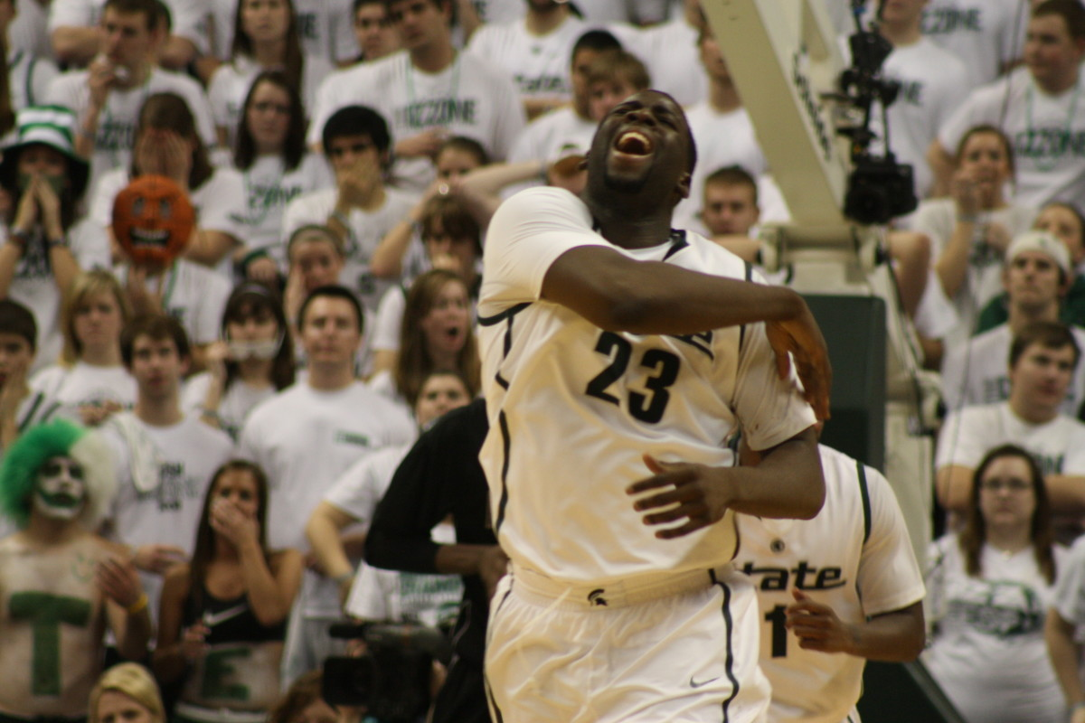 A frustrated Draymond Green didn't hide his anger at the Spartans performance.  Photo courtesy of Mark Boomgaard.