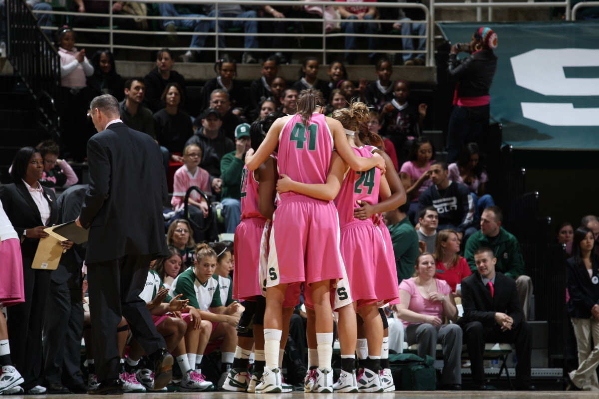 The Spartans will play in pink to draw attention to an important cause.  Photo courtesy of Jim Donatelli MSU SID.