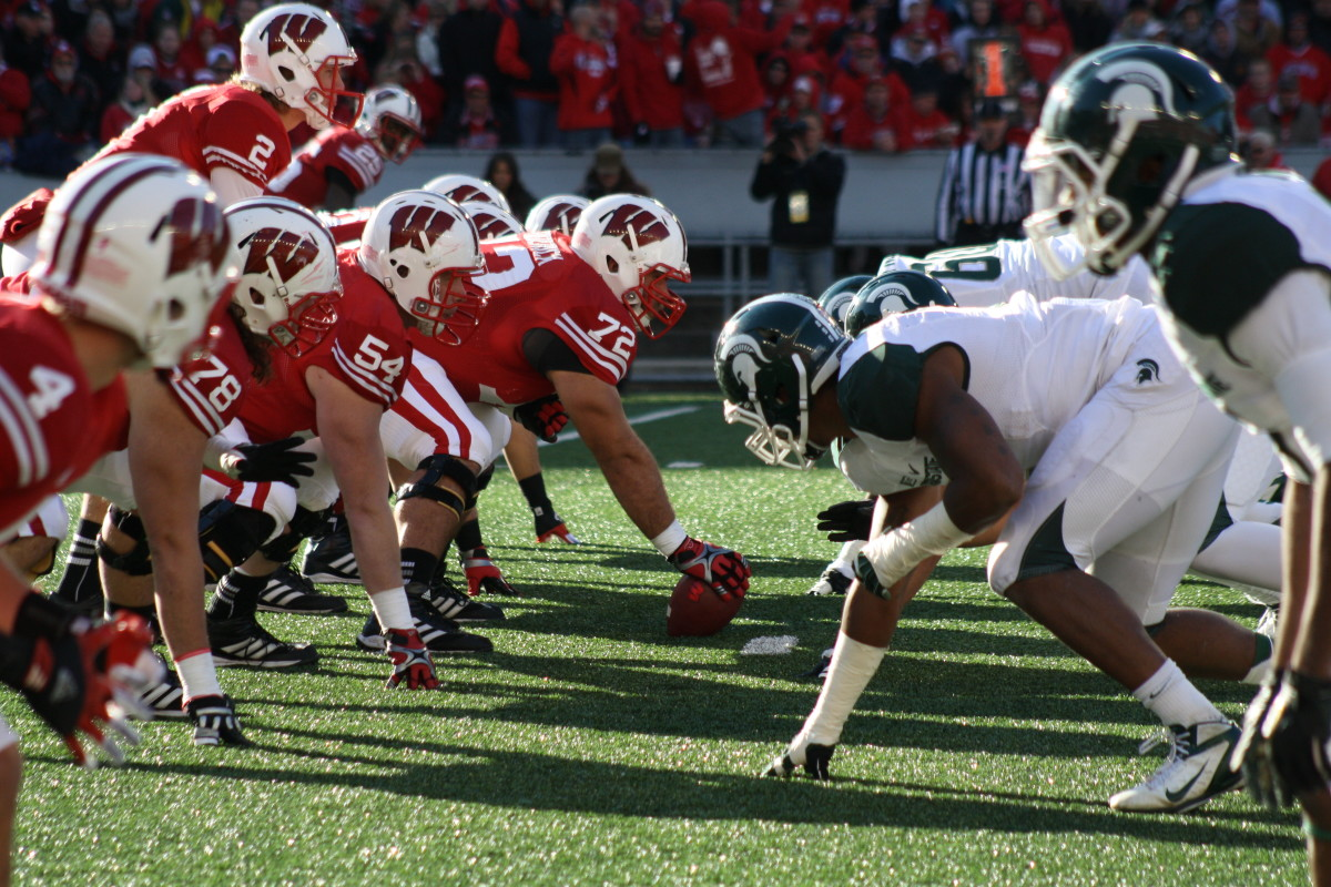 The line of scrimmage for the last MSU vs Wisconsin game in 2012.  Photo courtesy of Mark Boomgaard.