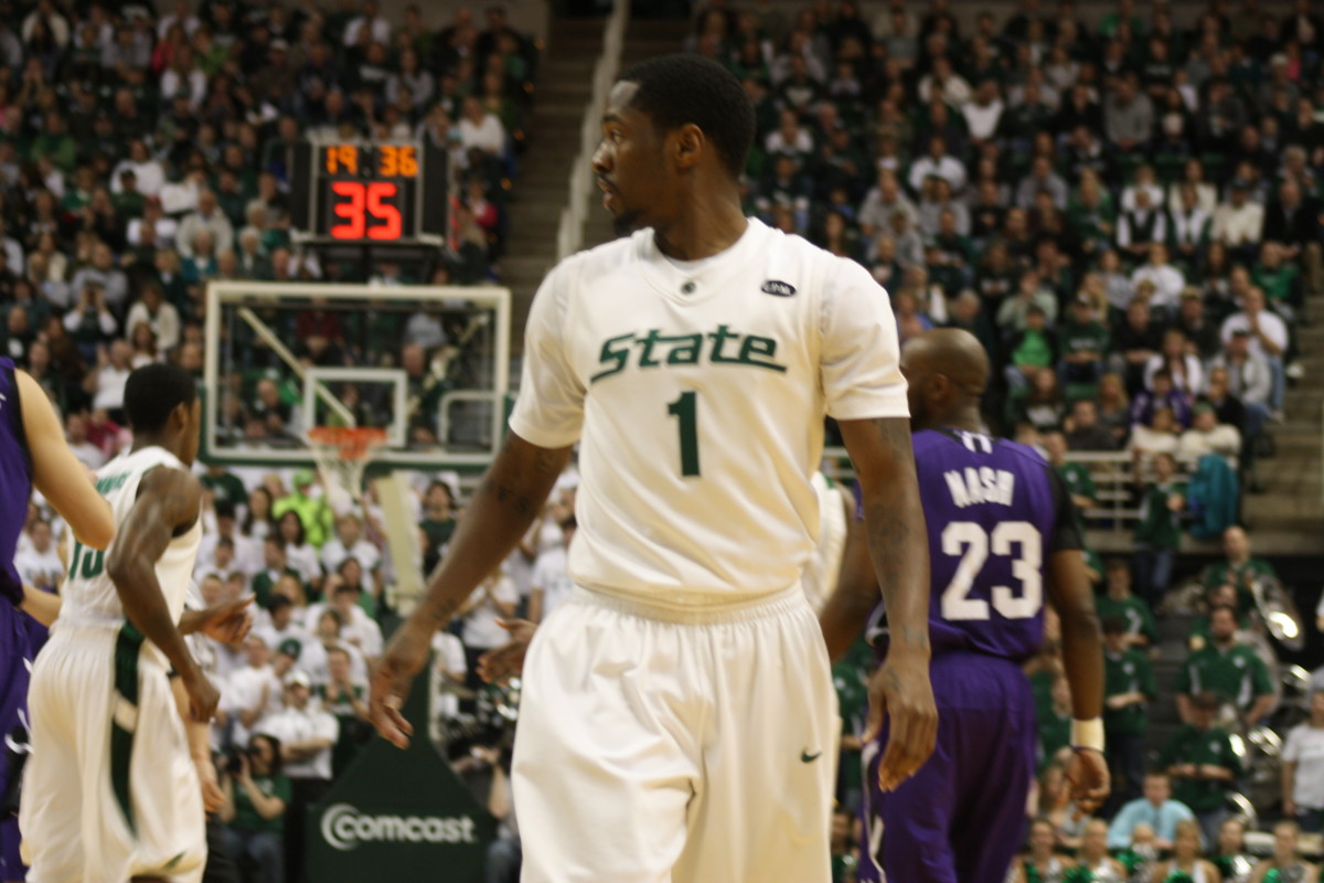 The entire Spartan Nation waits on the health of Kalin Lucas ankle.  Photo courtesy of Mark Boomgaard.