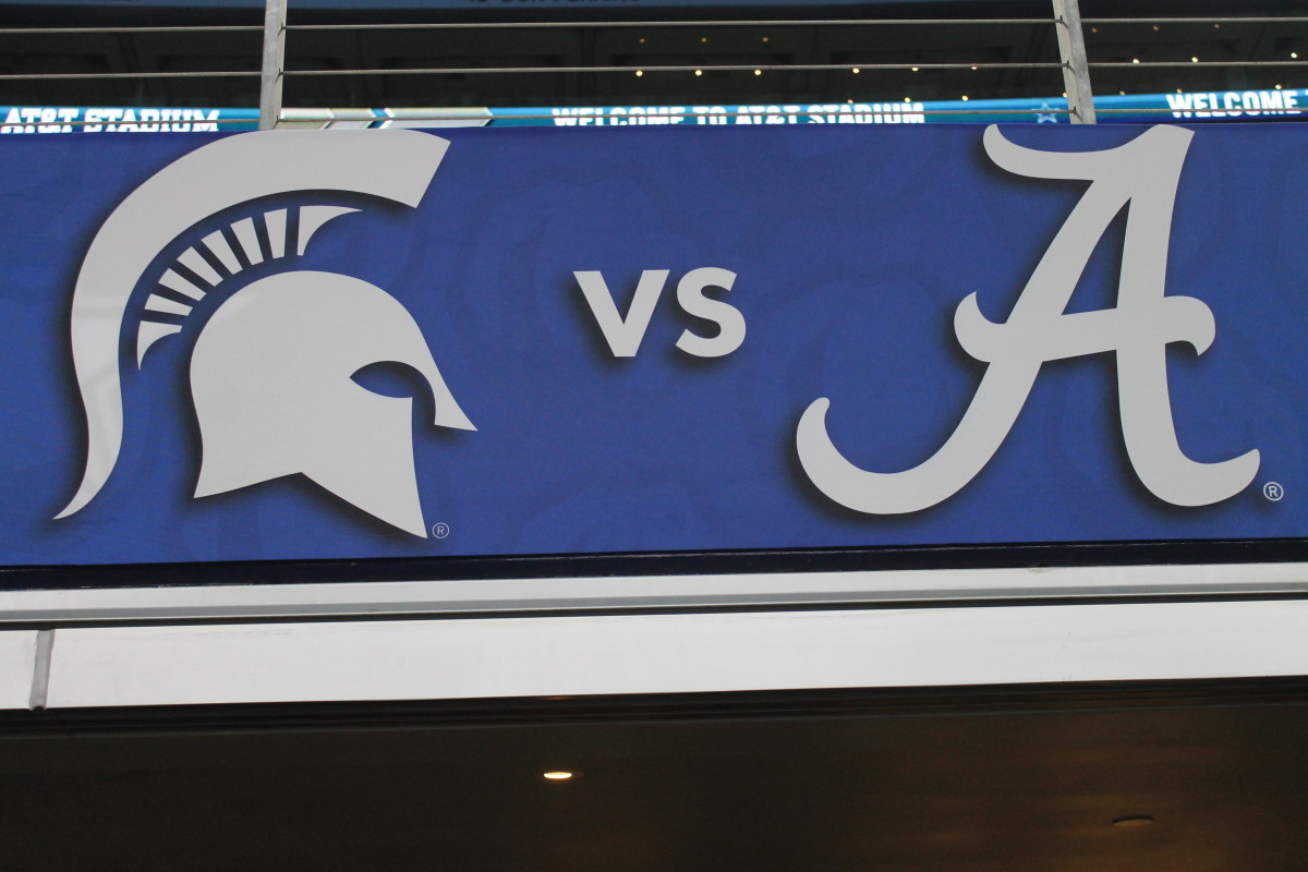Cotton Bowl MSU vs Bama logo sign