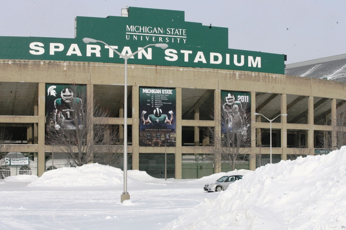 With signing day over, the snow may be high around the high cathederal of the Spartan Nation, but our eyes are on spring football.  Photo courtesy of Bill Marklevits.