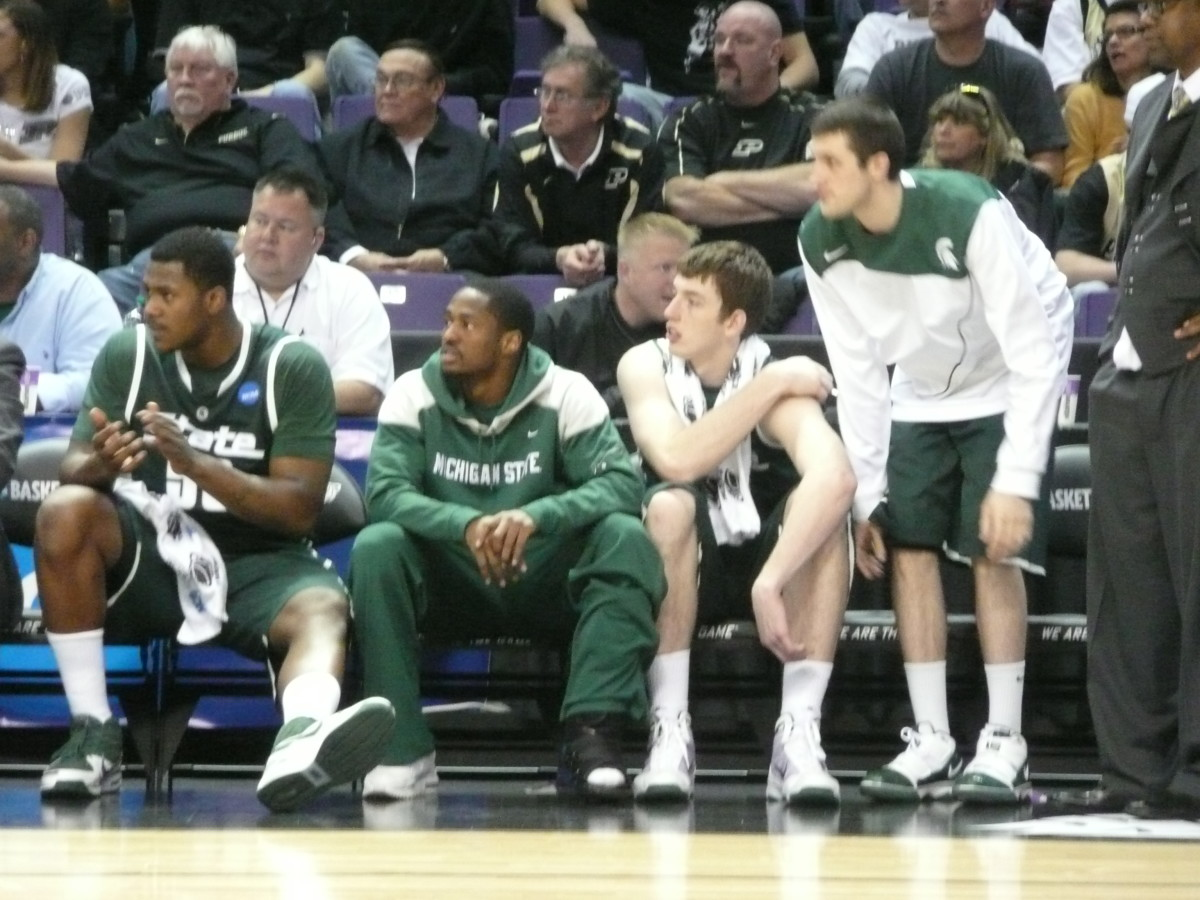 With Roe on a bad knee and Allen and Lucas not playing their Coach Tom Izzo is willing the Spartans.  Photo courtesy of Greg Martin.