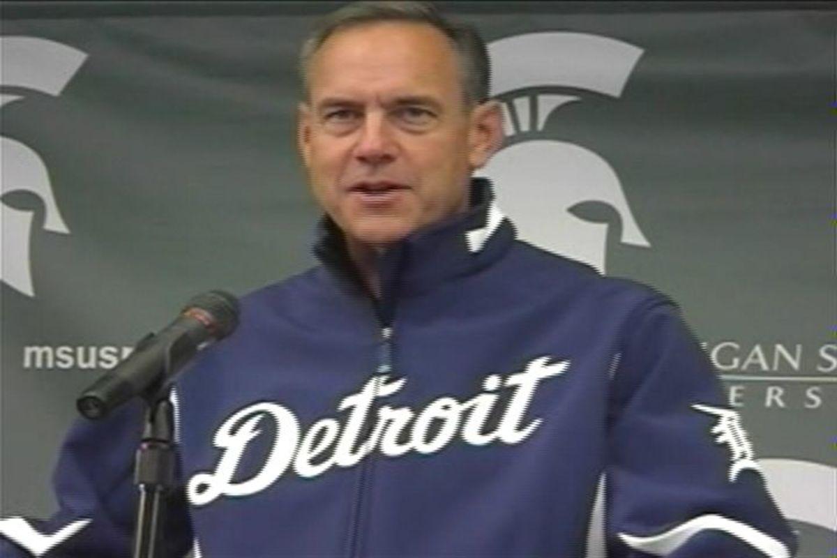 Mark Dantonio Showed Up At His Weekly Press Conference Wearing a Tigers Jacket that Jim Leyland Gave Him!