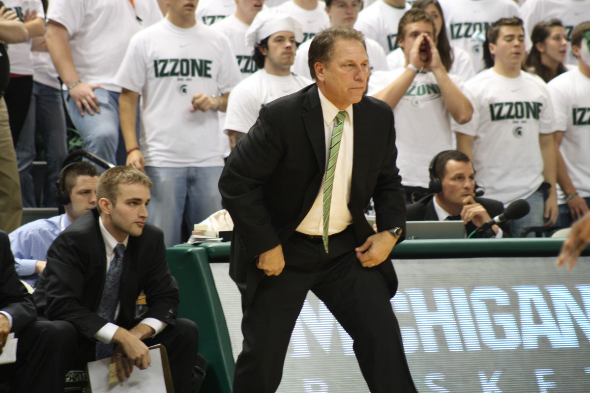 Tom Izzo will take his suspension, but his press conference was that of an angry man.  Photo courtesy of Mark Boomgaard.