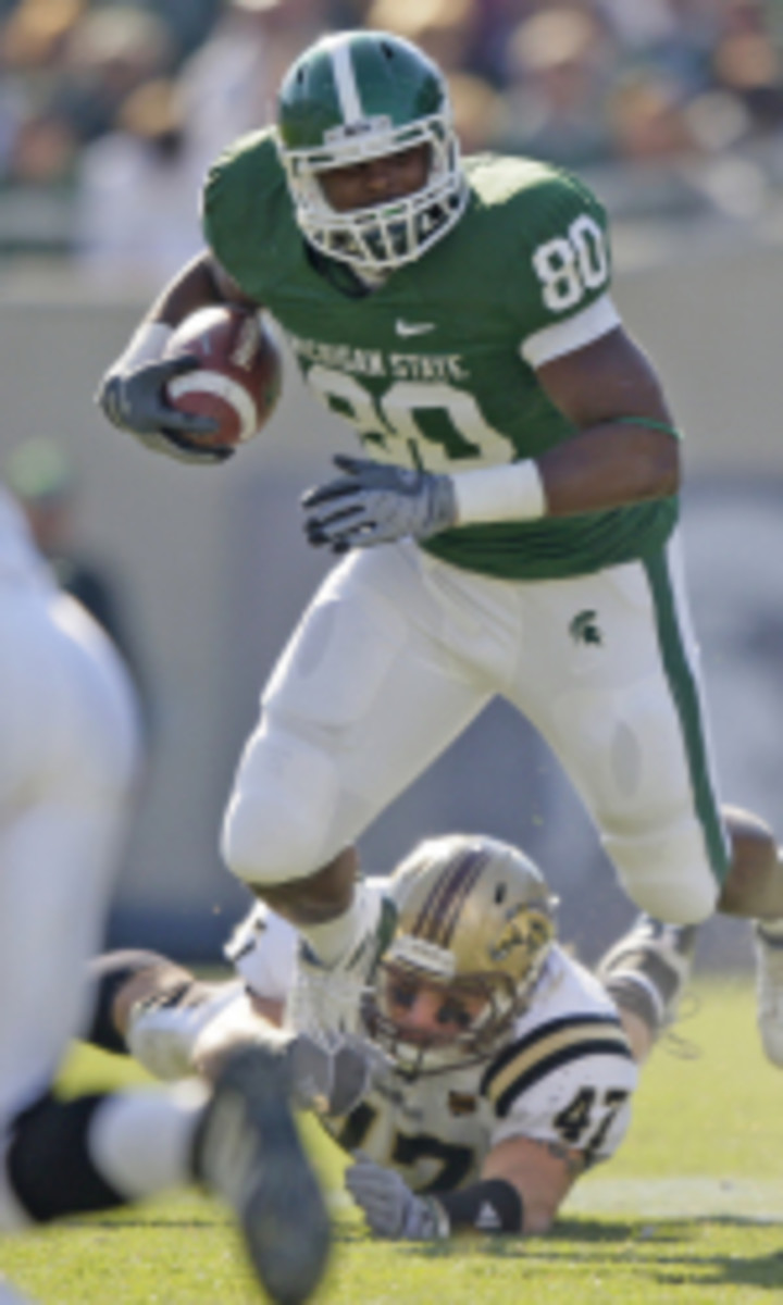 Dion Sims is suspended from the MSU athletic programs until his legal issues are resolved.  Photo courtesy of MSU SID.