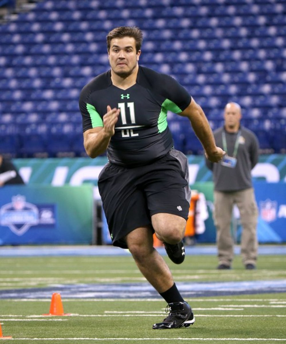 Jack Conklin working out at the 2016 NFL Combine.  Photo courtesy of the NFL.