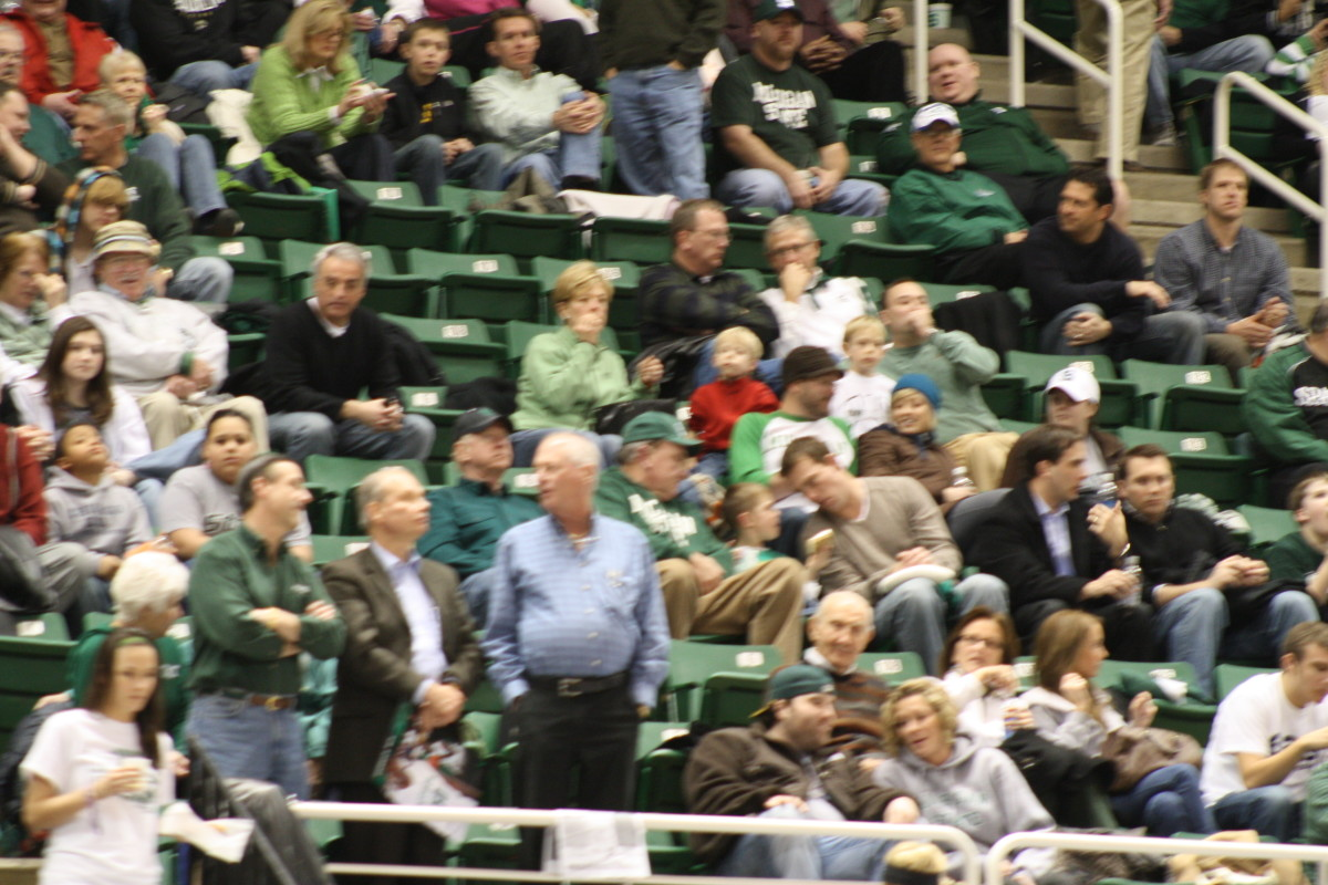 Empty seats like the ones seen here against Iowa earlier this year, certainly add to the frustration level of Izzo.  Photo courtesy of Mark Boomgaard.