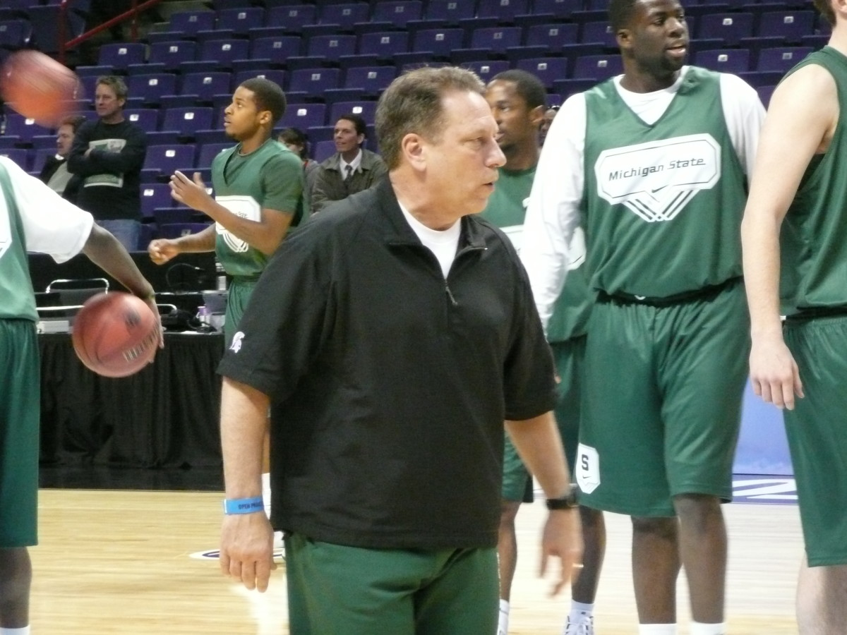 Coach Izzo put the Spartans through a light workout here in Spokane a short time ago.  Photo courtesy of Greg Martin.