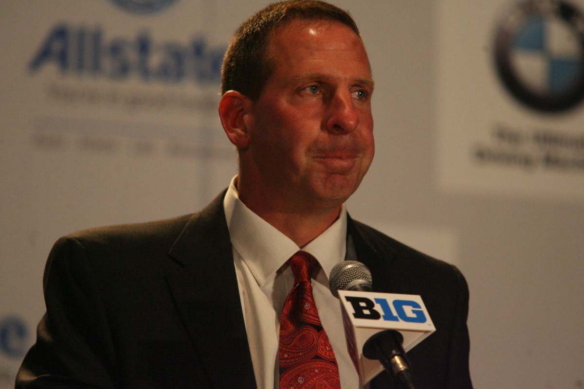 Nebraska head coach Bo Pelini at the Big Ten media days.  Photo courtesy of Bill Marklevits.