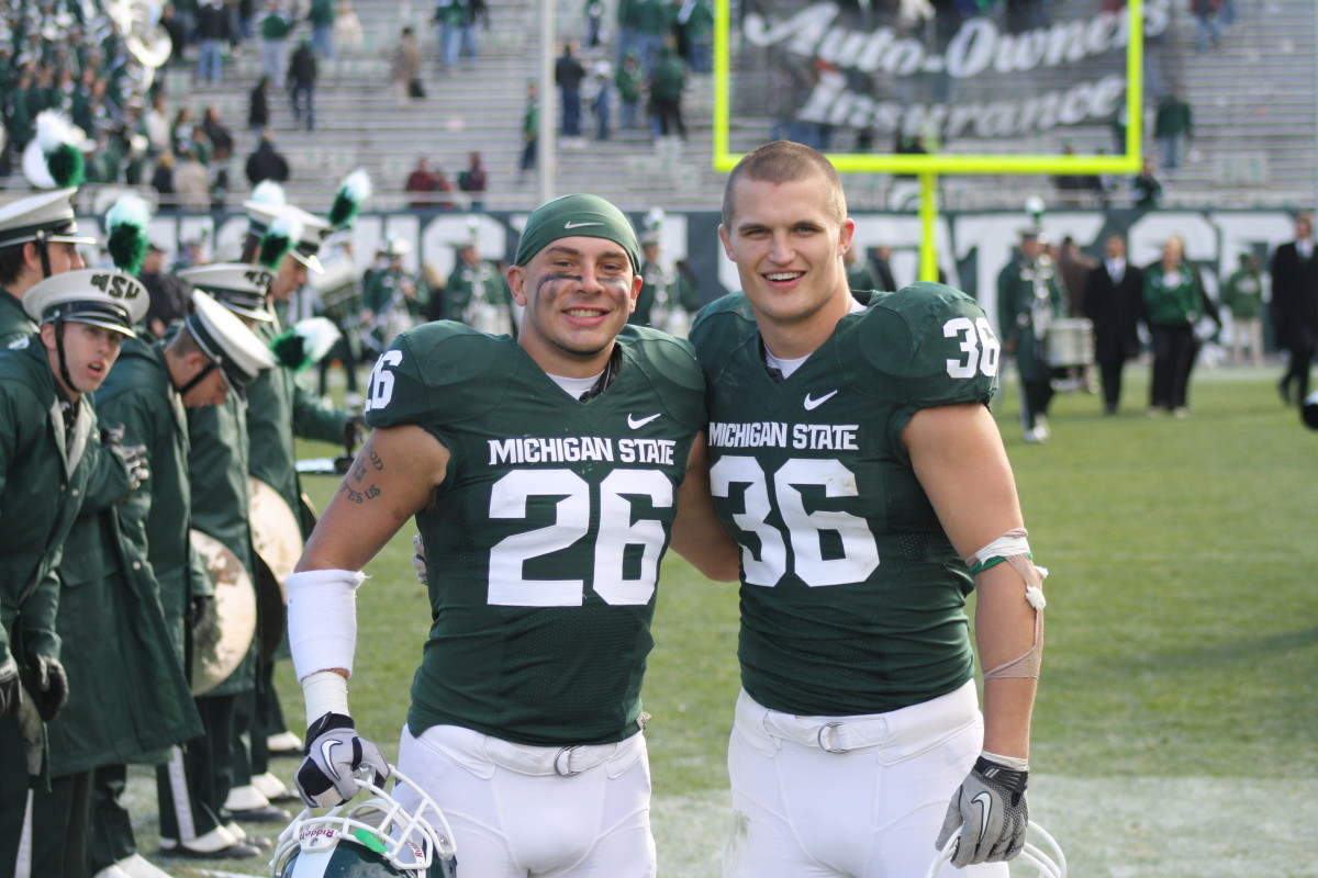 Jesse Johnson and Jon Misch are great friends and two of the many great seniors who are celebrating their last home game.  Photo courtesy of Mark Boomgaard.