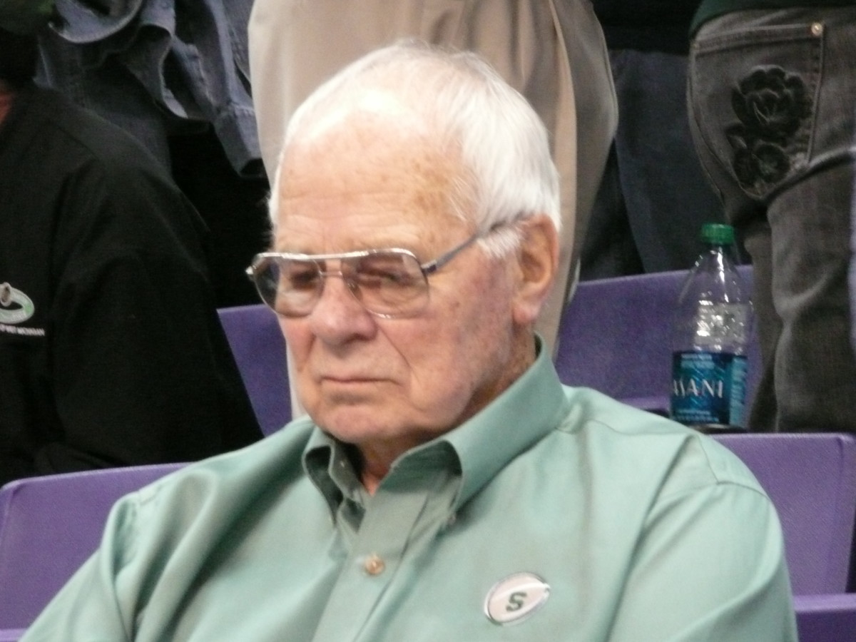 Even the lovable curmudgeon Jud Heathcote couldn't complain about the Spartans first half performance as he sat courtside here at Spokane arena.  Photo courtesy of Greg Martin.