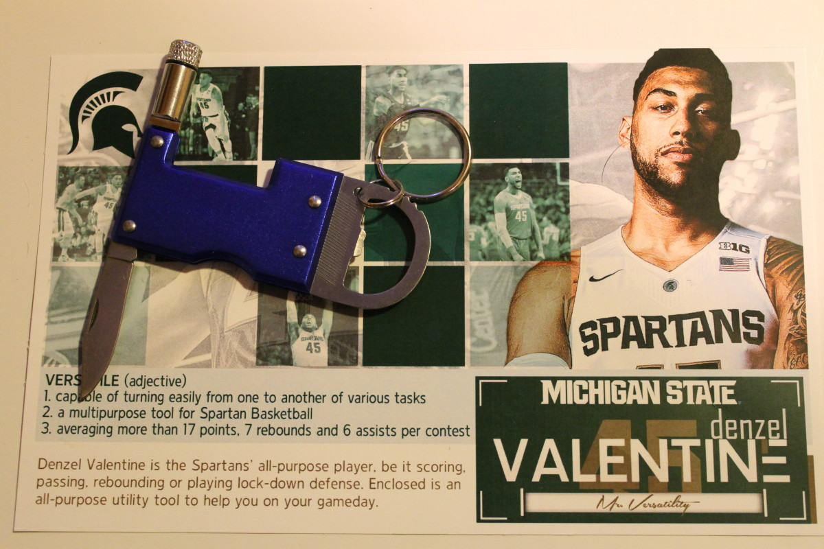 MSU athletic communications sent out this UTILITY KNIFE promotion nationally to help the POTY chances of star Denzel Valentine.