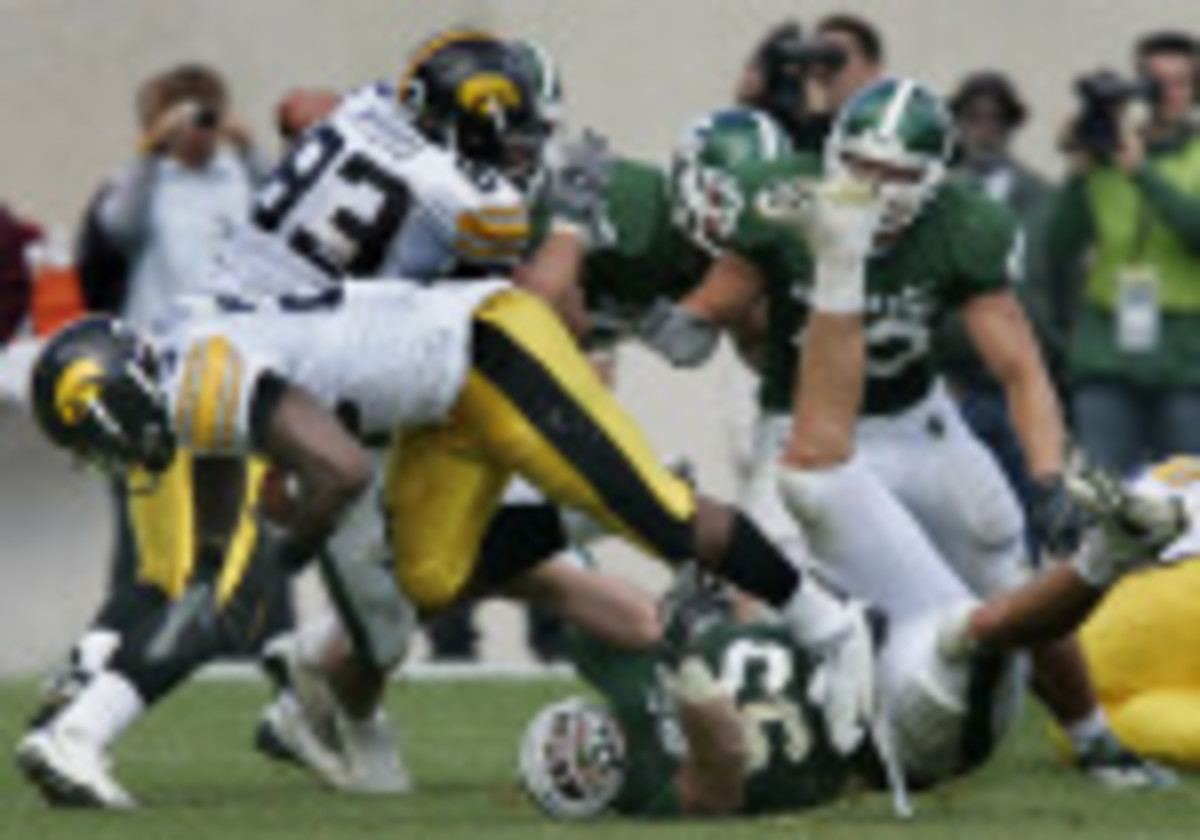 Decker will be known forever for his hit on future NFL RB Shonne Greene, but it is far from who he is.  Photo courtesy of MSU SID.
