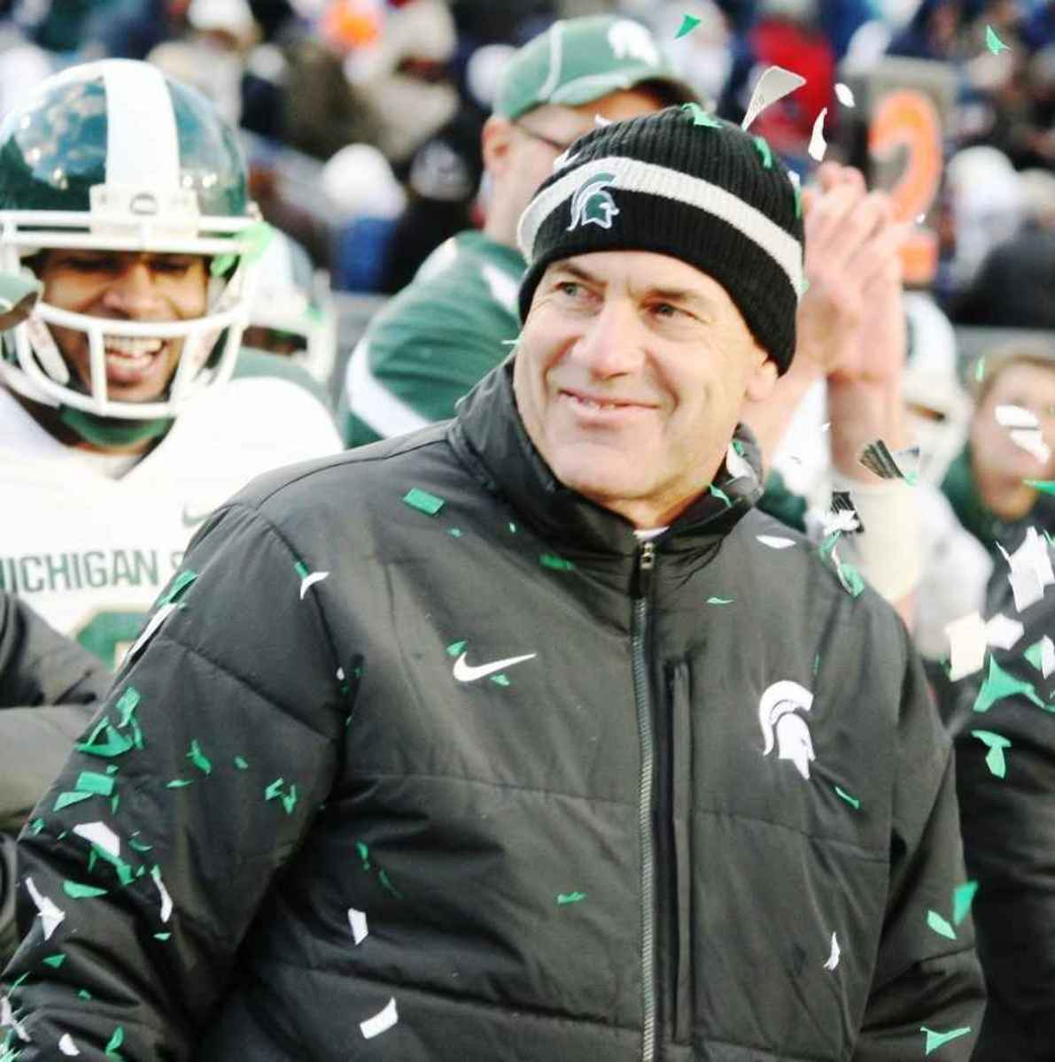 After winning his first (but not his last Big Ten Title) as a head coach Dantonio was all smiles.  Photo courtesy of Bill Marklevits.