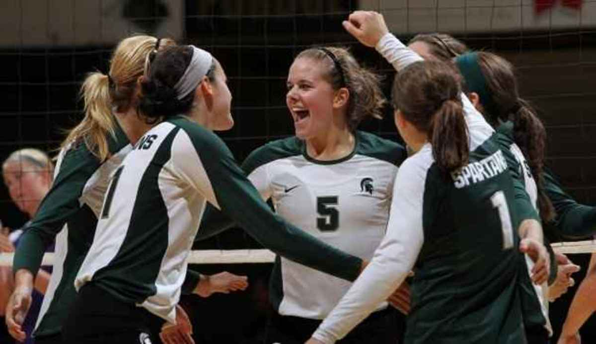 Abron, Emro, Mathews, Rathje and Weiler tryout for U.S. National volleyball teams.  Photo courtesy of MSU SID.