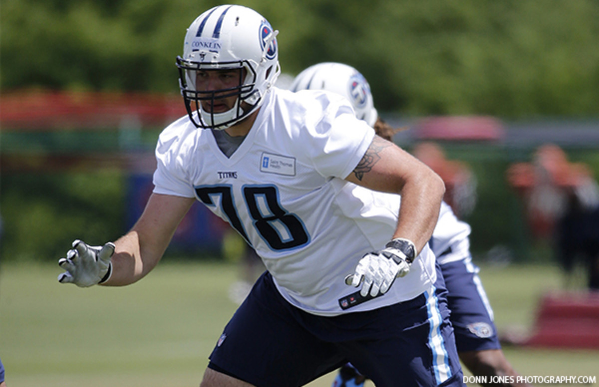 Jack Conklin working hard in the NFL.  Photo courtesy of the Titans.