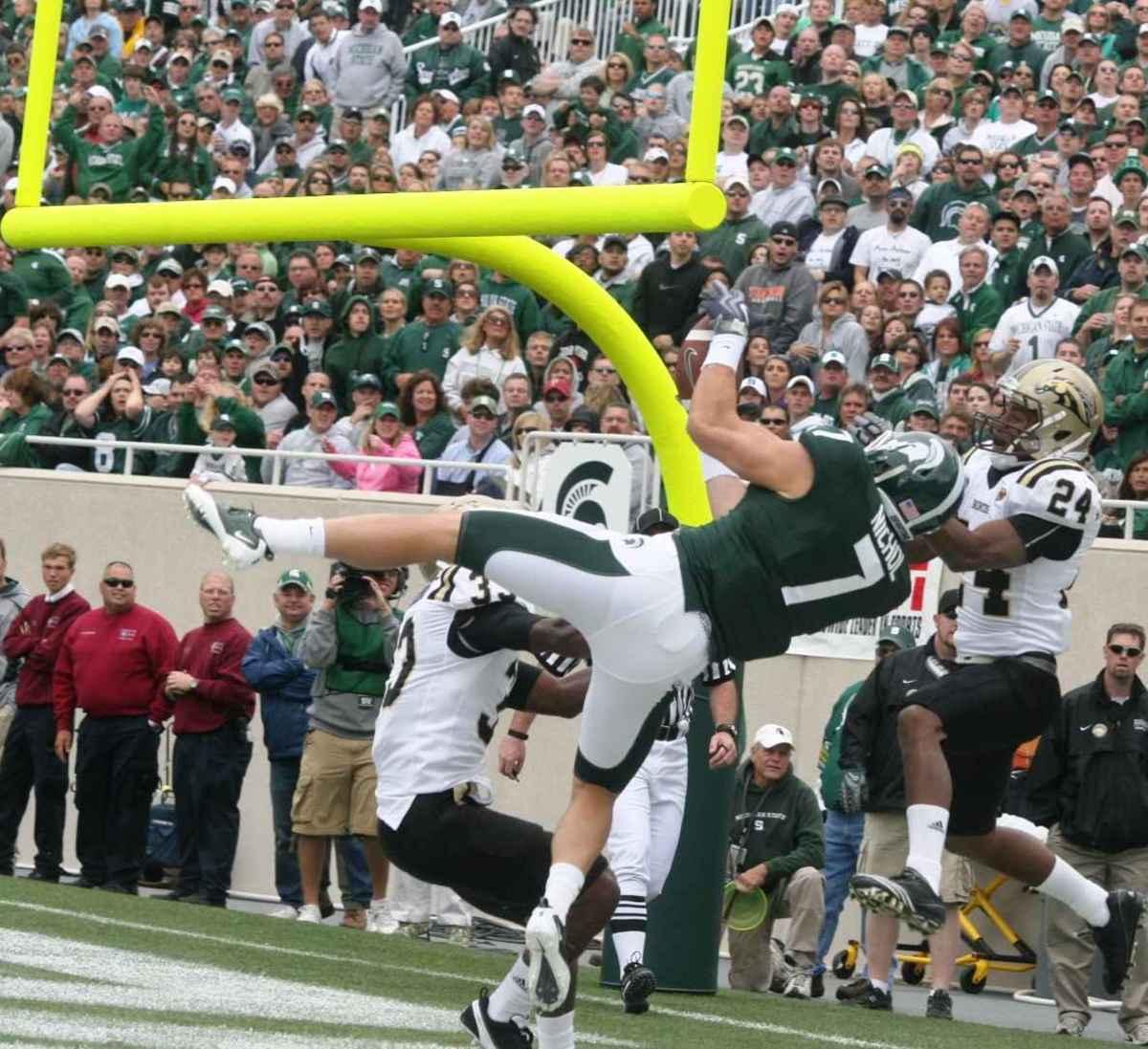 Keith Nichol's amazing TD catch set the stage for an amazing 2010 season.  Photo courtesy of Bill Marklevits.