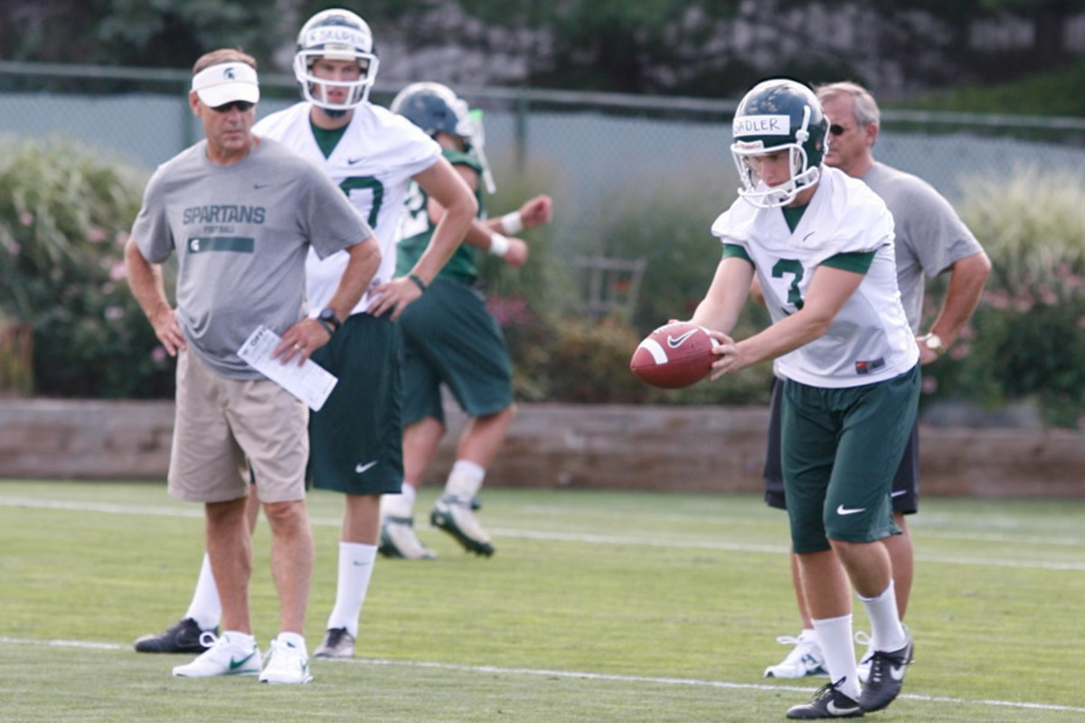 Mark Dantonio has to be happy with a defense that is farther along than a very potent offense.  Photo courtesy of Starr Portice.