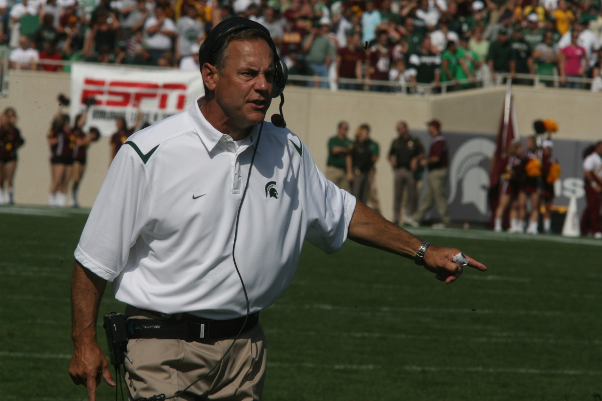 With a total of 45 offers already for 2011 and 16 Prospects on Campus this Weekend, Dantonio is making a big push!  Photo courtesy of Bill Marklevits.
