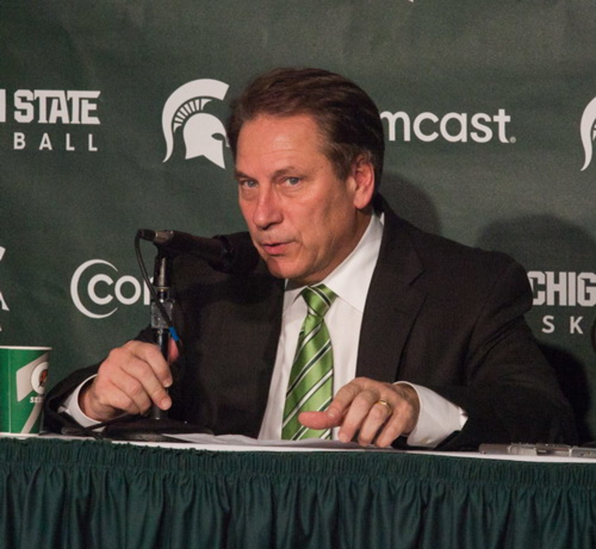 """Tom Izzo sat down with the media today to recap the Spartans, """"Disappointing"""" 2010-2011 campaign.  Photo courtesy of Starr Portice."""