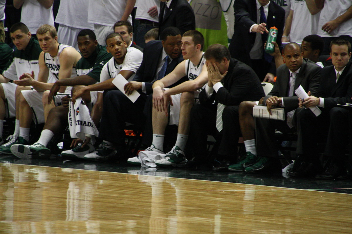 It was a long miserable day for the Spartan Nation today!  Photo courtesy of Mark Boomgaard.