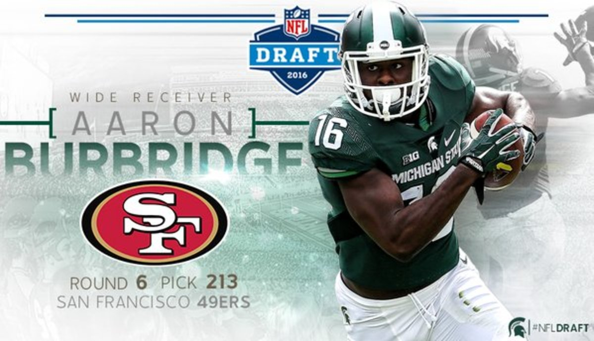 Aaron Burbridge 2016 NFL draft.  Photo courtesy of MSU SID.