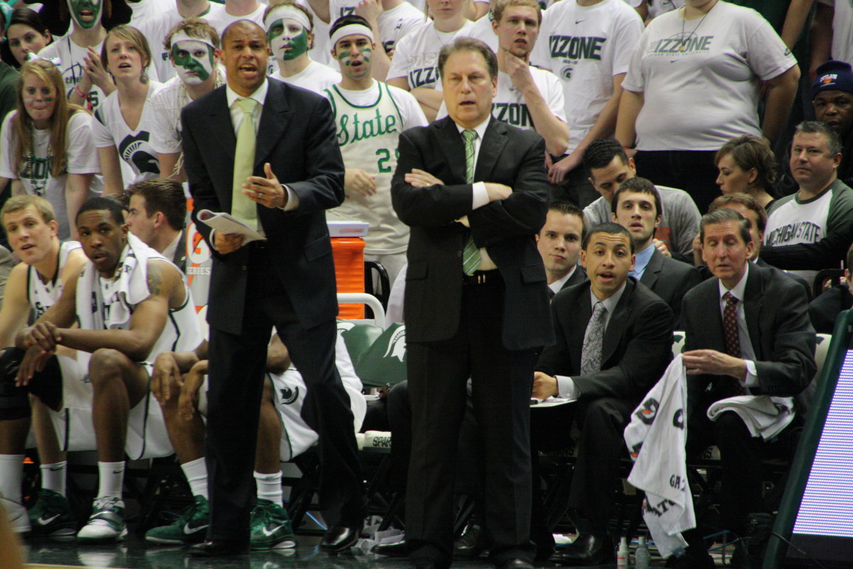 Tom Izzo has his Spartans on the verge of his 14th straight NCAA tournament.  Photo courtesy of Mark Boomgaard.